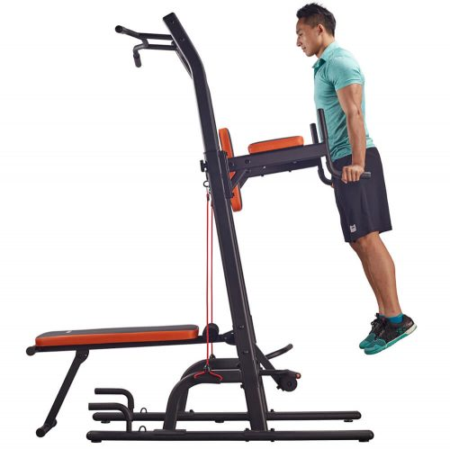HARISON Multifunctional Power Tower Pull Up Dip Station with Bench Review